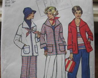 UNCUT FF Vintage 70's Misses Jacket & Pants Simplicity 7347 Size 12 Bust 34