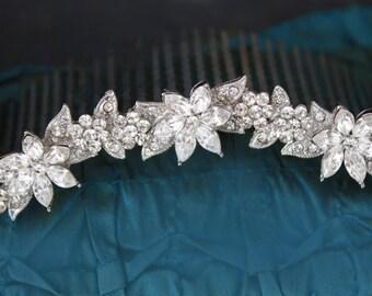 vintage style wedding tiara,bridal hair comb,wedding hair accessory, crystal rhinestone bridal crown,wedding bridal hair accessory
