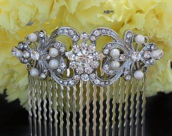 vintage inspired pearls bridal hair comb silver wedding pearl art deco hair combs headpiece crystal clear rhinestone bride  bridesmaid