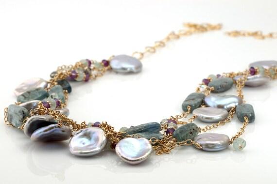Keshi Pearl Necklace with Kyanite Aquamarine Swarovski Crystal