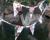 Forest Green Lace & Waverly Pleasant Valley Fabric Bunting Garland of Flags