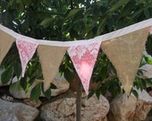 Lace Over CORAL Burlap Beach Wedding Banner Fabric Bunting Garland of Flags 12 Feet