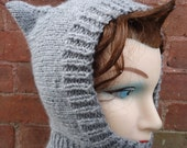 Kitty Cat Ears Balaclava Hand Knit Hood Hat Heather Gray Toddler Child Youth Extra Small Adult Size