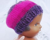 Striped Hot Pink Purple 18 Inch Doll Hat Tam Hand Knit Slight Slouch