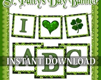CLEARANCE St. Patrick's Day Shamrock Banner - Printable INSTANT DOWNLOAD