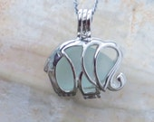 Aqua Sea Glass  Elephant Necklace Locket Frosted Pale by Wave of Life™