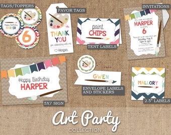 Rainbow Art Paint Party Collection - DIY Custom Printable - Invitations, Labels, Tags, Toppers, Signs