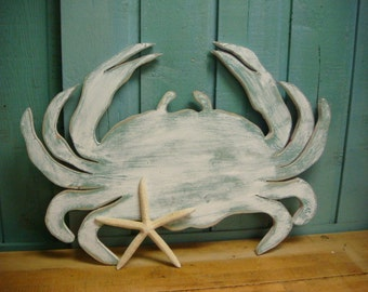 White Crab Sign Wall Art Beach House Coastal Ocean Decor By CastawaysHall
