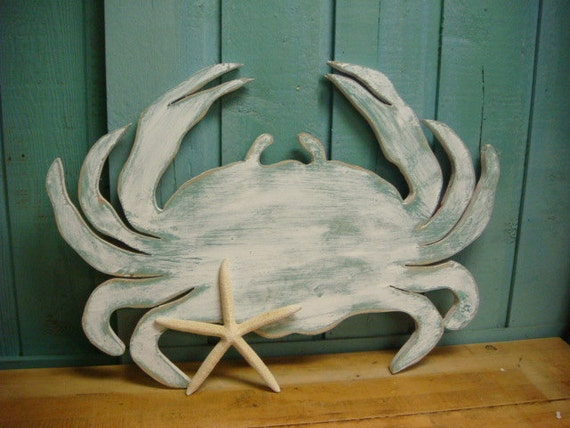 White Crab Sign Wall Art Beach House Coastal Ocean Decor By