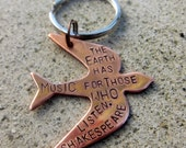 Shakespeare Quote - The Earth has music - Hand Stamped Keychain -Made to Order-