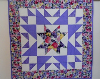 Star Quilt, Quilted Star Table Topper, Floral Table Runner, Wall Hanging, Floral Quilt, Cottage Chic, Purple and Lavender