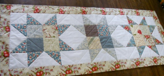 Patchwork Stars Quilted Table Runner Urban Cowgirl by Moda