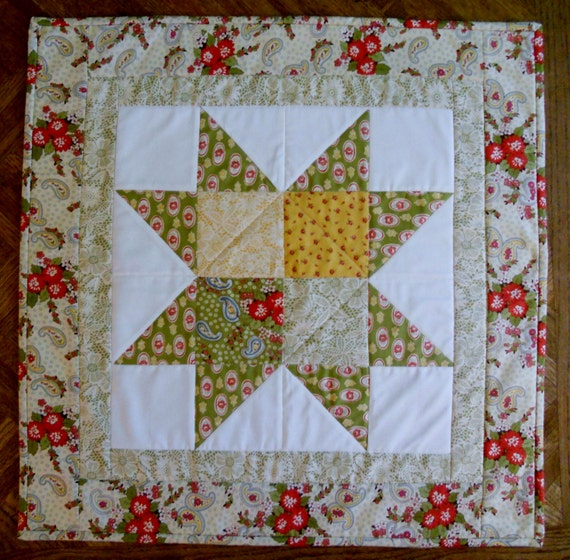 Contemporary Patchwork Quilted Star Table Topper Runner Fall AutumnThanksgiving