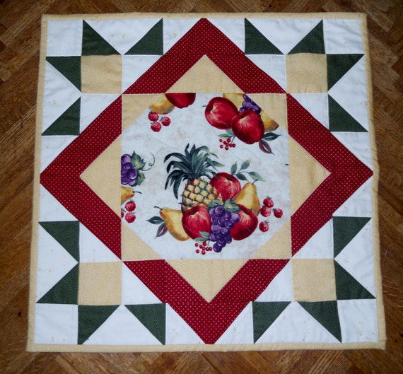 Sale Quilted Table Topper,Table Runner, Vintage Style, Farmhouse, Kitchen, Fruit
