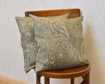 Linen Pillow Cover Olive Green Cushion Cover Linen Damask Decorative Case Khaki Throw Pillow