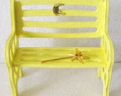 Yellow Fairy Garden Bench Miniature Crescent Moon Accent