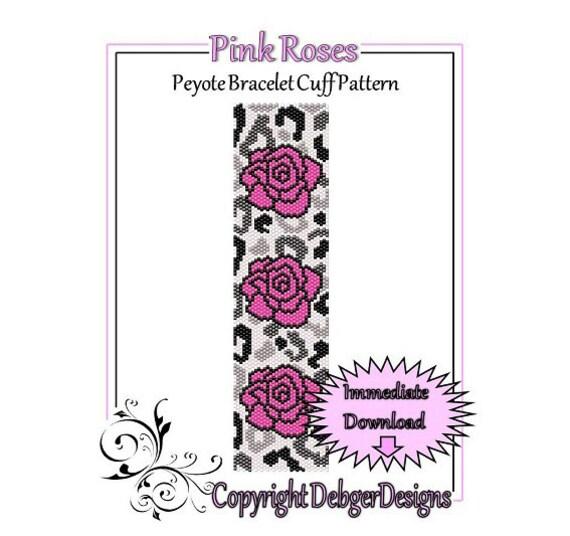 Bead Pattern Peyote(Bracelet Cuff)-Pink Roses
