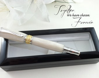Personalized Engraved Bridal Wedding Guest Book Pen White Pearl 22kt Gold - FREE Engraving