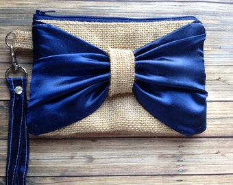 Burlap Wristlet - Bridesmaids Gifts - Wedding Clutch - Burlap - satin lace