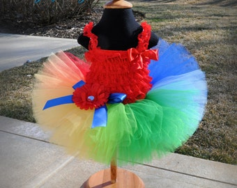 Primary Rainbow Tutu...Sesame Street Birthday Tutu, Clown Tutu, Halloween Tutu...Newborn to Adult Tutu Sizes . . . PRIMARY RAINBOW