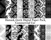 Damask digital paper Black and white damask paper 12x12 scrapbook paper Commercial use DIY Card making Decoupage