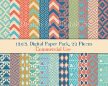 Tribal digital paper, digital paper tribal, digital paper Geometric 12x12 scrapbooking printable Commercial use