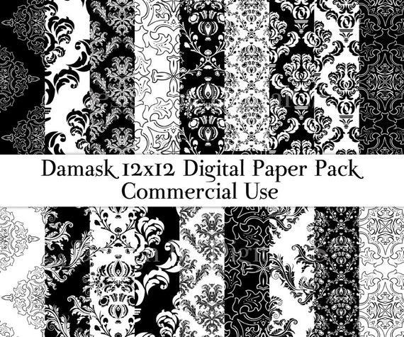 Damask digital paper Black and white damask paper 12x12