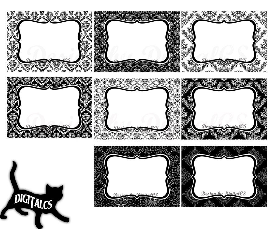 Damask digital frame clipart clip art wedding Black and white