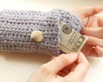 Handsfree Wallet  - Crochet Wristlet Arm Purse- wristband - arm warmer - light grey
