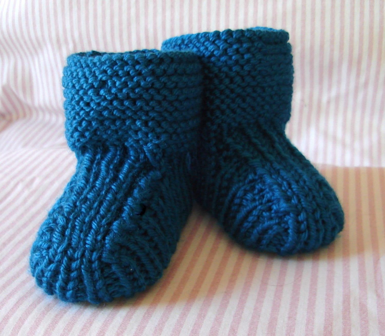 Hand knit baby booties Prairie Booties