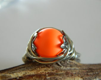 Glass Pearl Ring Wire Wrap Ring Swarovski Glass Pearl Neon Orange Silver Wire wrapped Ring