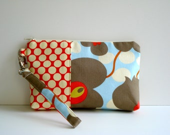 wristlet. Clutch. Pouch. Travel Bag.  Bridal Gift. Cotton Fabric. Detachable Wrist. Clutch. Made To Order.