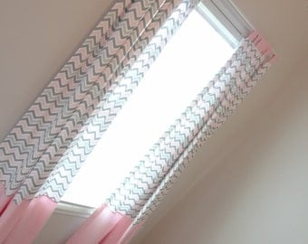 "Pink and Grey Zoom Custom Drapery Panels 84"" long"