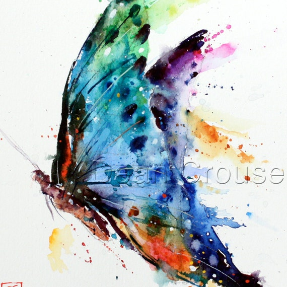 Abstract Butterfly Watercolor Butterfly Watercolor Print by