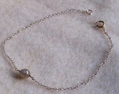 Rough Gray Faceted DIAMOND Bead and Sterling Silver Bracelet.  Sweet and Delicate.  Modern and Minimalist.
