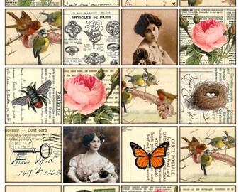 2x2 inch vintage digital images tag card ephemera rose girl buttefly bird 2 inch square images Printable Download Digital Collage Sheet