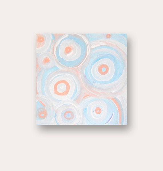 "Abstract Painting - SALE - original modern fine art - acrylic on canvas by Linnea Heide - 10"" x 10"" square pastel geometric circles"