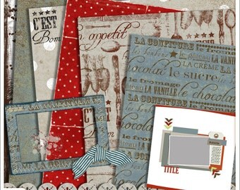"Digital Scrapbook Mini Kit 12 x 12–""Bon Appetit"" Papers, Elements, Frames, Template"