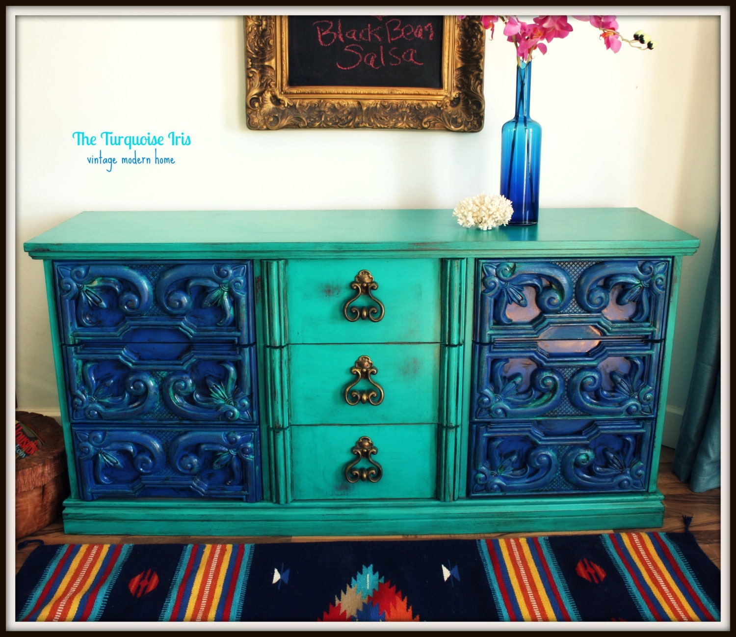 Vintage Dresser / Buffet In Turquoise And By TheTurquoiseIris