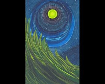 GREEN WAVE woodcut print