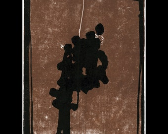 Brown & Black  Abstract Woodcut Print