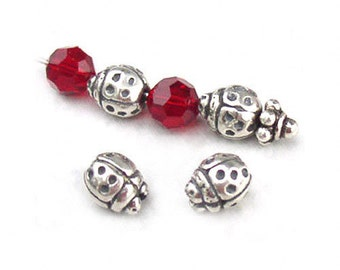 Lady Bug Beads Sterling Silver 7mm