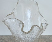 Large Free Form Heavy Vintage Art Glass Bowl/Planter Stylized Clam Shell