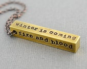 Game of Thrones Inspired House Brass Hand Stamped Necklace by TheCopperFox