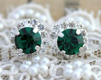 Emerald Silver Studs,Emerald Crystal Swarovski Earrings,Bridesmaids Swarovski Earrings,Silver Halo Green Earrings,Emerald Bridesmaids Studs