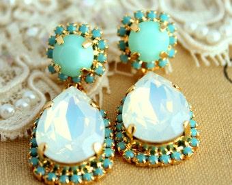 Turquoise Chandelier,Bridal Swarovski Crystal Chandeliers, Opal Mint Turquoise earrings,opal chandelier earrings,Crystal Drop earrings