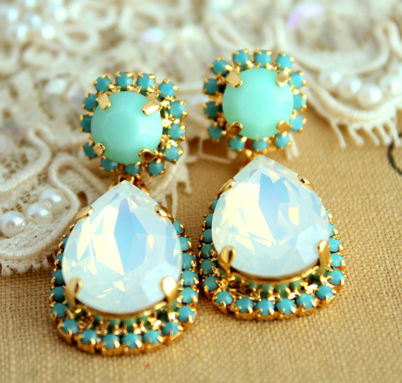 Turquoise ChandelierBridal Swarovski Crystal Chandeliers