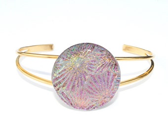 Dichroic Glass Cabochon Bracelet, Fused Glass Jewelry - Pastel Dreams, Starburst, Spring, Pink, Gold, Green (Item 20095-B)