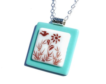 Simply Whimsical Fused Glass Pendant - Bird, Flower, Woodland, Nature, Outdoors, Dove - Sepia, Sky Blue, White (Item 10554-P)