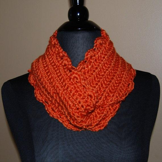 Crochet Infinity Scarf Pattern Shell : Items similar to Orange Shell Crochet Infinity Scarf on Etsy